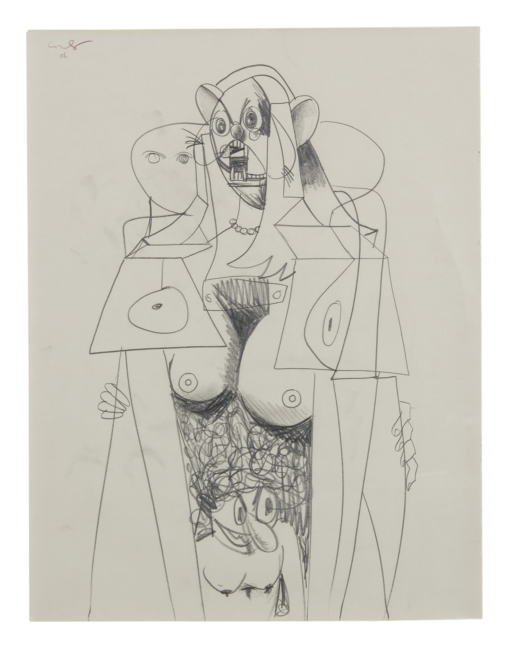 View full screen - View 1 of Lot 43. GEORGE CONDO   STANDING FEMALE FIGURE.