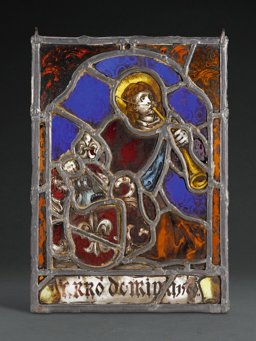 SOUTHERN GERMAN, CIRCA 1560 | ARMORIAL PANEL WITH A TRUMPETER