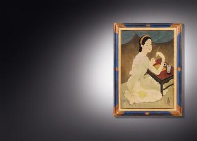 View 4. Thumbnail of Lot 1028. Mai Trung Thu 梅忠恕   Lady Writing a Poem 作詩的仕女.