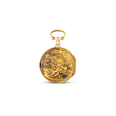View 1. Thumbnail of Lot 4013. FRÈRES MELLY | A SMALL VARI-COLOUR GOLD OPENFACE KEYWOUND QUARTER REPEATING VERGE WATCH WITH ENAMEL DIAL, CIRCA 1820.