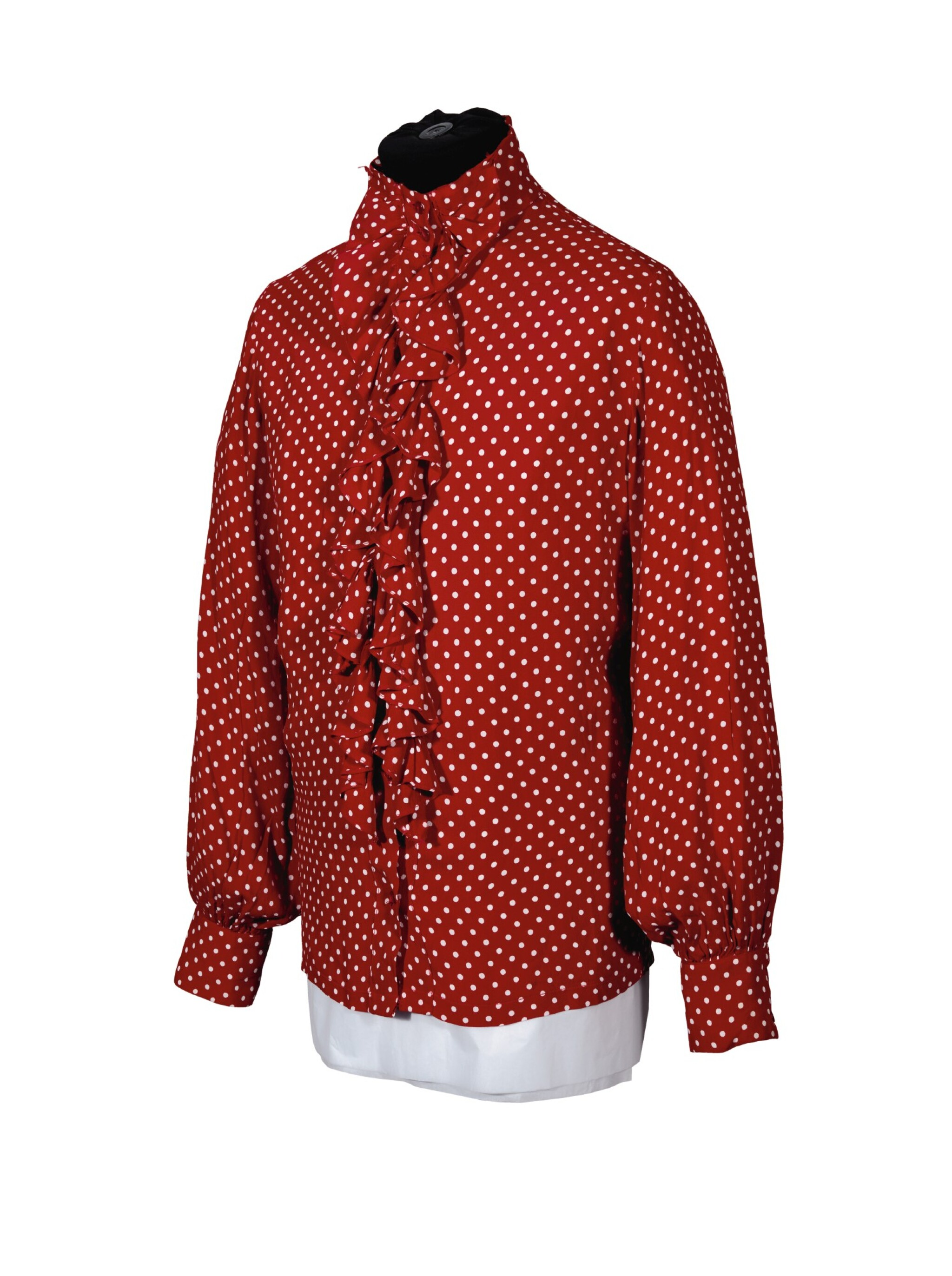 RINGO STARR   Red spotted 'ruffle' shirt, c.1968