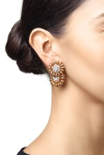 PAIR OF GOLD AND DIAMOND PENDANT-EARCLIPS, VAN CLEEF & ARPELS, FRANCE