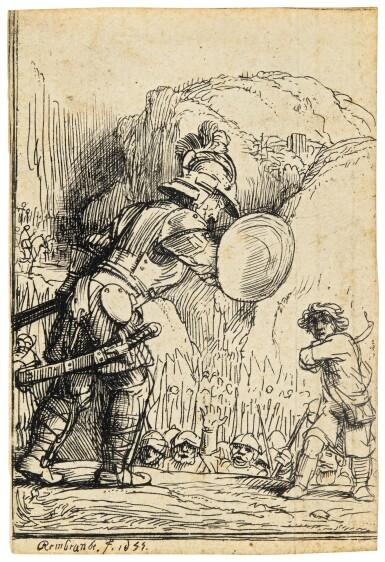 View 1. Thumbnail of Lot 59. REMBRANDT HARMENSZ. VAN RIJN  |  DAVID AND GOLIATH (B., HOLL. 36; NEW HOLL. 288C; H. 284).