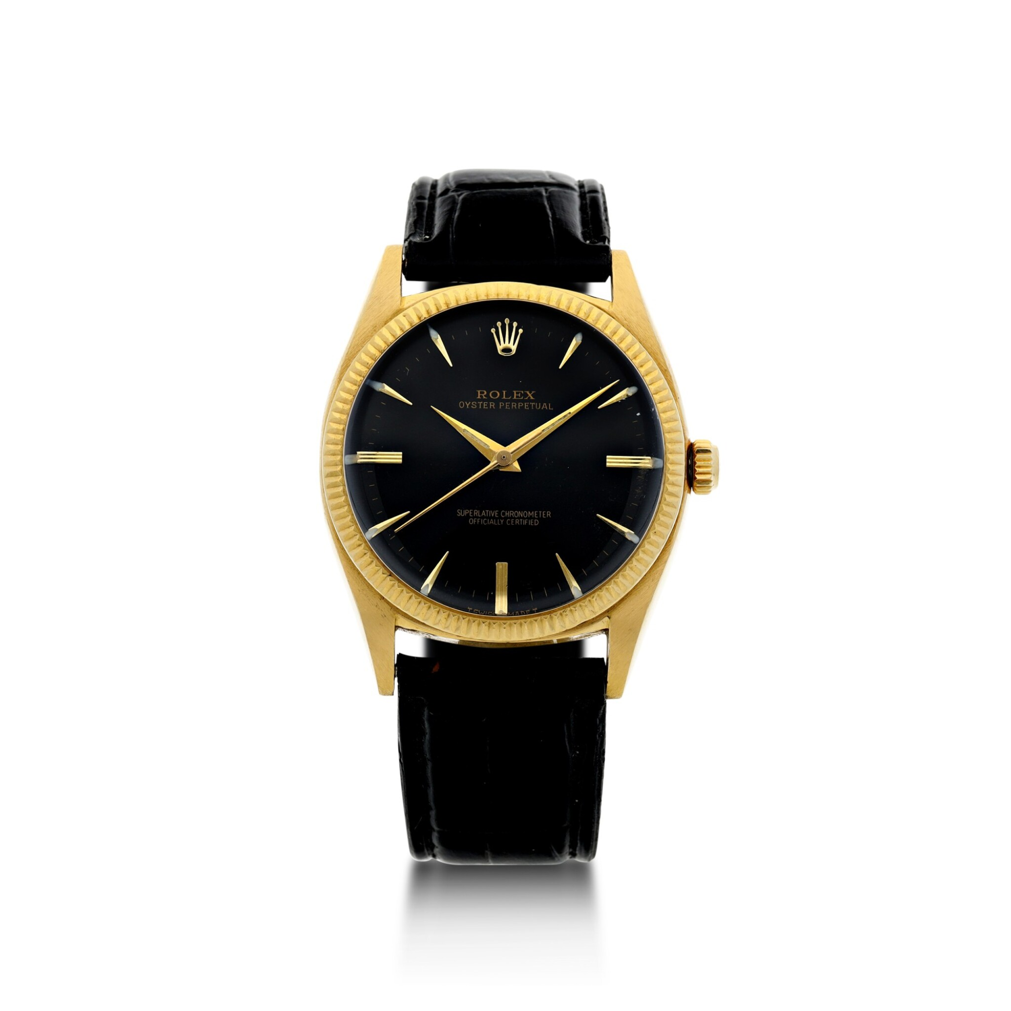 View full screen - View 1 of Lot 99. ROLEX | REFERENCE 1013 OYSTER PERPETUAL A YELLOW GOLD AUTOMATIC WRISTWATCH, CIRCA 1966.