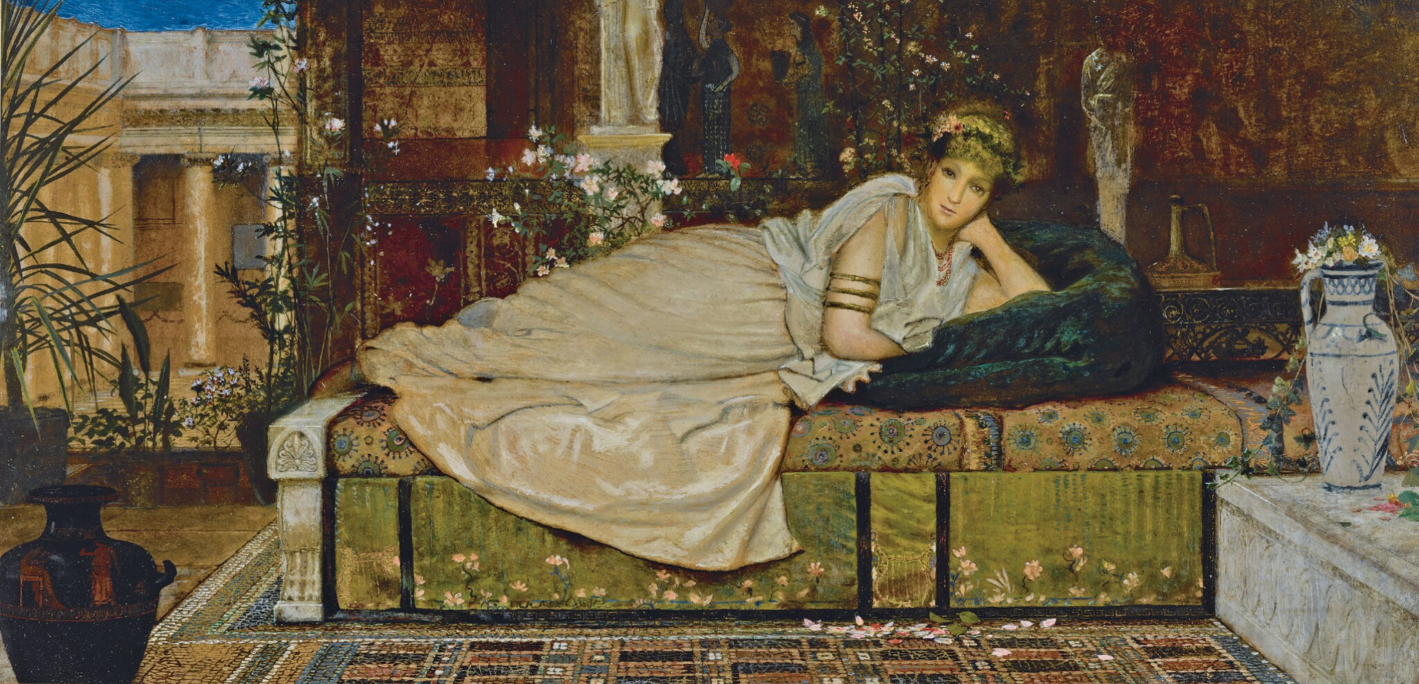 JOHN ATKINSON GRIMSHAW | A Lady in a Classical Interior