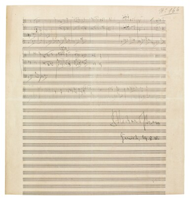 """View 1. Thumbnail of Lot 38. R. Strauss, Sketchleaf for """"Der Bürger als Edelmann"""", Op.60 (III) and """"Schlagobers"""", Op.70, [1917-1921]."""