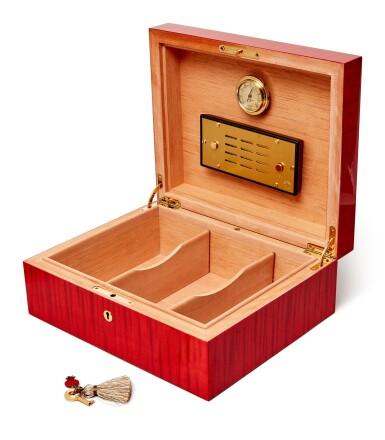 View 2. Thumbnail of Lot 3. Wang Guangyi 王廣義 X ELIE BLEU I Red Sycamore Humidor 紅色懸鈴木雪茄盒.