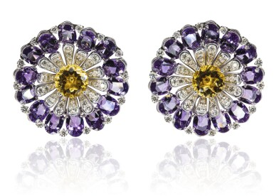 View 1. Thumbnail of Lot 67. Pair of amethyst, citrine and diamond ear clips, Michele della Valle.