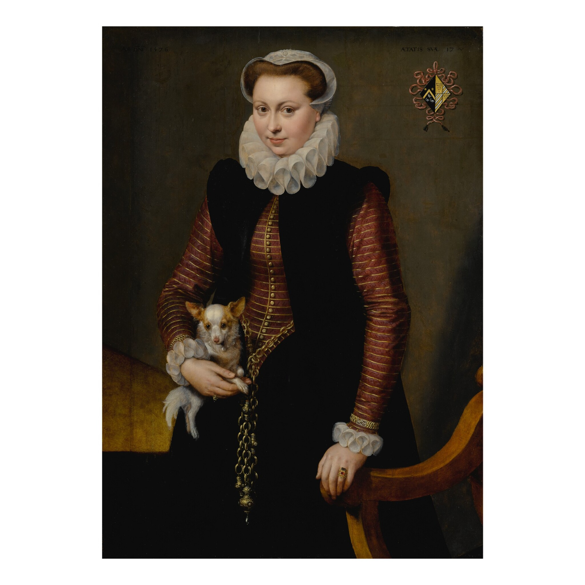 View full screen - View 1 of Lot 19. Portrait of a young woman, aged 17, holding a small spaniel wearing a collar of bells.