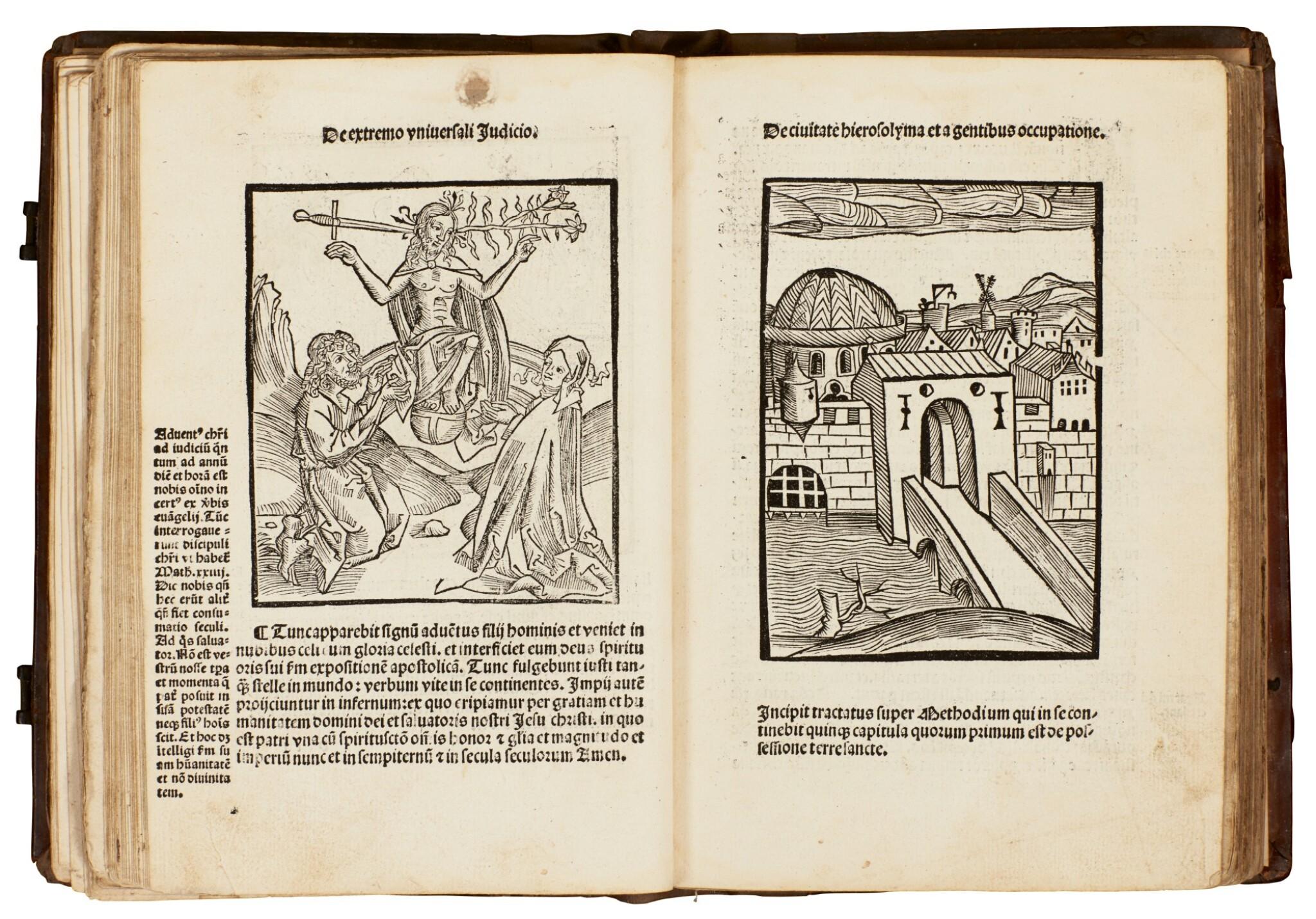View full screen - View 1 of Lot 127. Geoffrey of Monmouth, Methodius, Tiraqueau, Grapaldus, Paris, 1507-1517, English stamped calf.