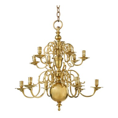 A DUTCH BAROQUE BRASS TWELVE-LIGHT CHANDELIER, LATE 17TH CENTURY AND LATER