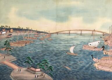 View 2. Thumbnail of Lot 116. ATTRIBUTED TO KAWAHARA KEIGA (1786–1860) STUDIO, A GROUP OF ELEVEN VIEWS STUDIO, EDO PERIOD, EARLY 19TH CENTURY  .