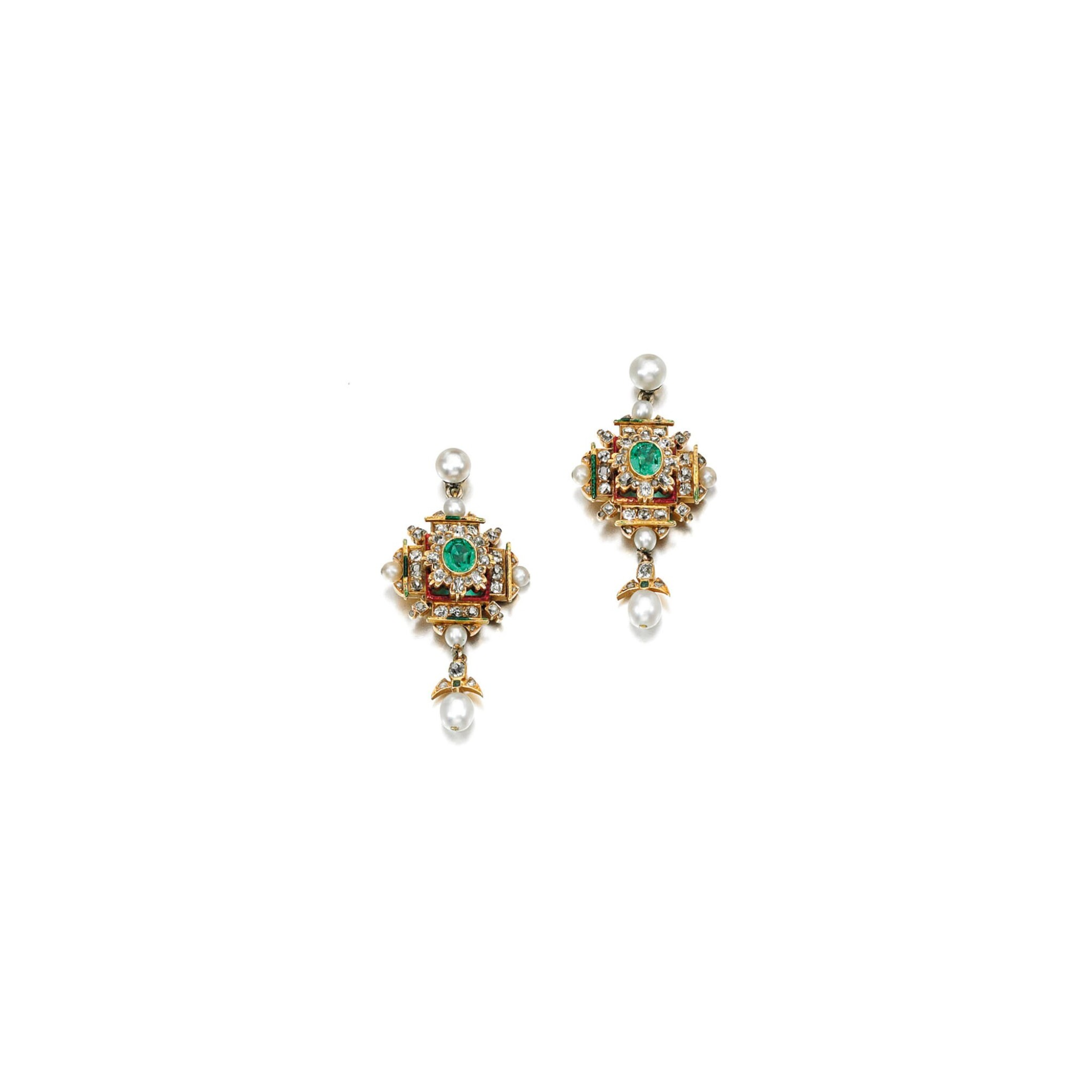 View full screen - View 1 of Lot 220.  PAIR OF EMERALD, DIAMOND AND SEED PEARL EARRINGS, 1870S.