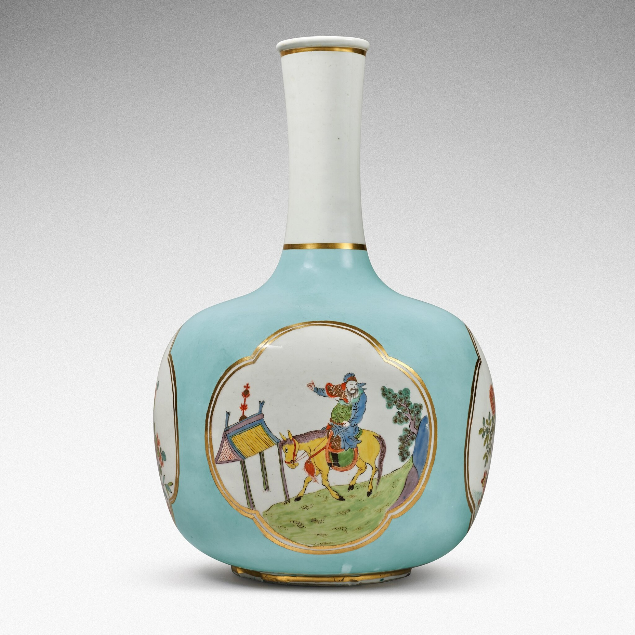 View full screen - View 1 of Lot 35. A very rare Meissen Augustus Rex large seladon-ground bottle vase, Circa 1735 .