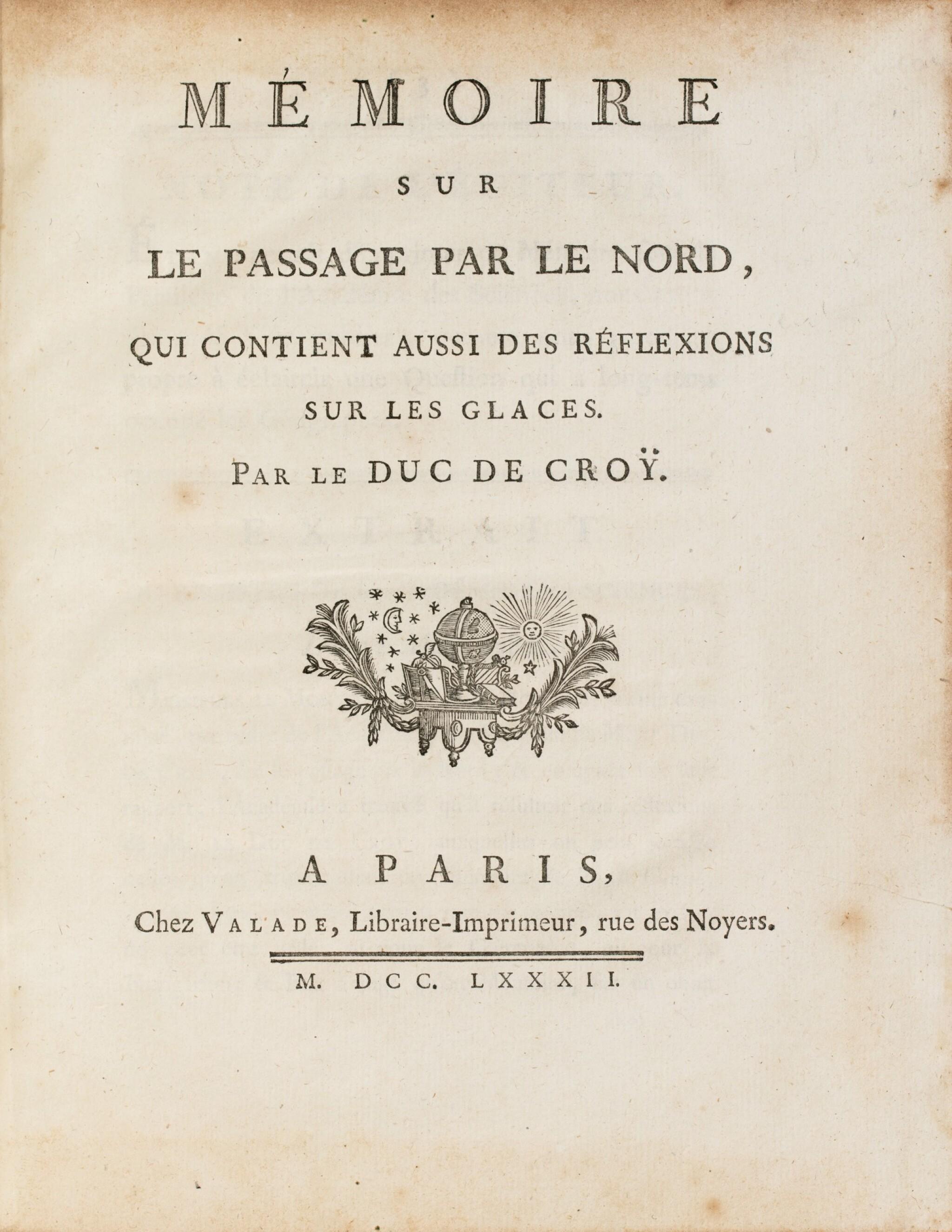 View full screen - View 1 of Lot 181. CROY. Mémoire sur le passage par le nord. 1782. In-4. Edition originale..