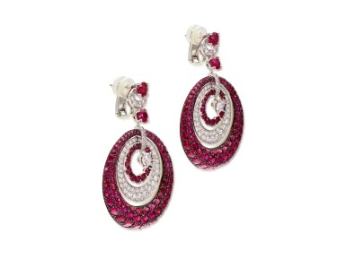 View 2. Thumbnail of Lot 1848. 'Bombé' Pair of Ruby and Diamond Pendent Earrings | 格拉夫 | 'Bombé' 紅寶石 配 鑽石 耳墜一對.