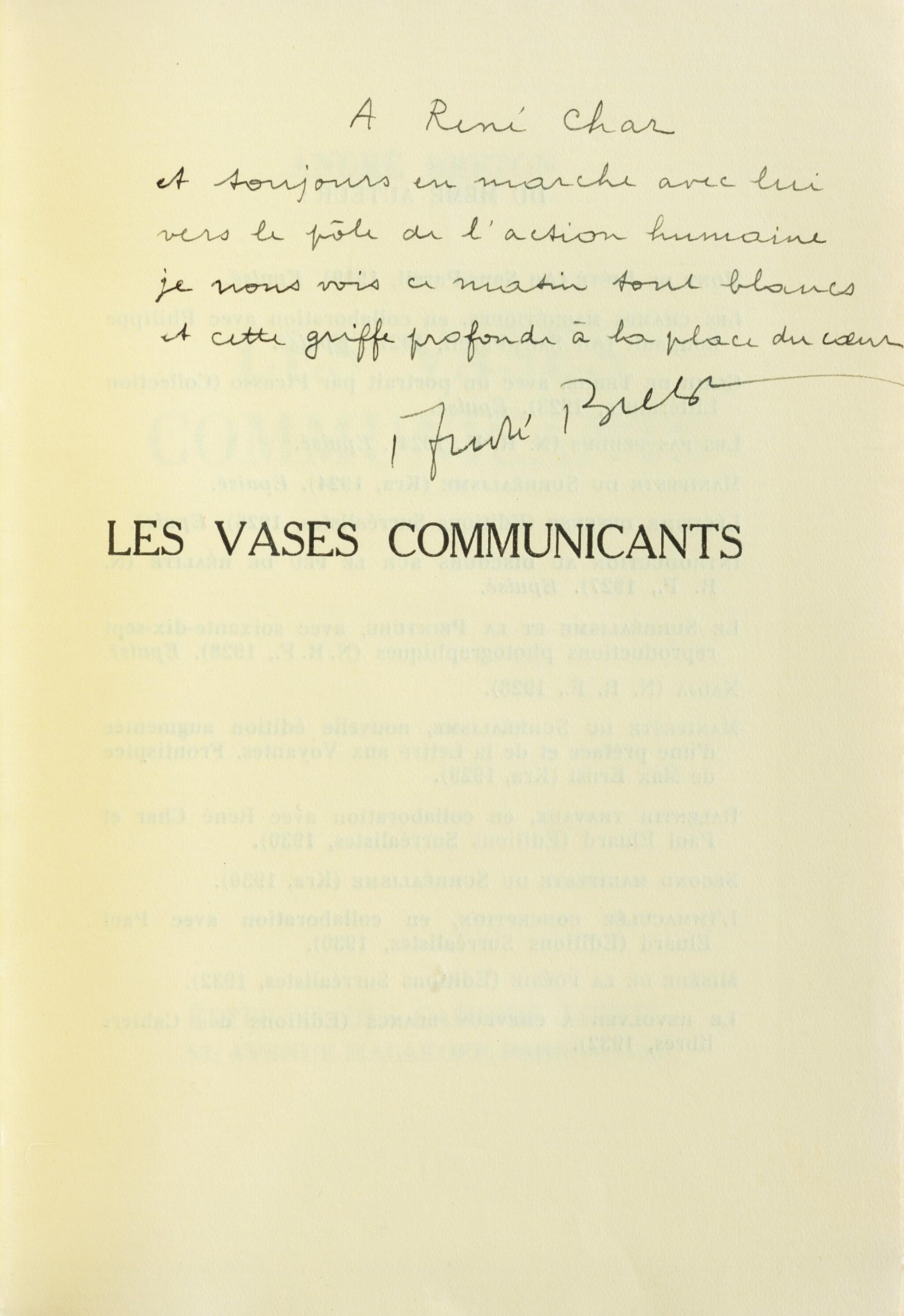 """View full screen - View 1 of Lot 221. Les Vases communicants. 1932. Envoi de Breton à Char. """"Tirage à part pour les amis"""" sur papier jaune."""