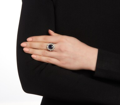View 4. Thumbnail of Lot 76. Sapphire and diamond ring.