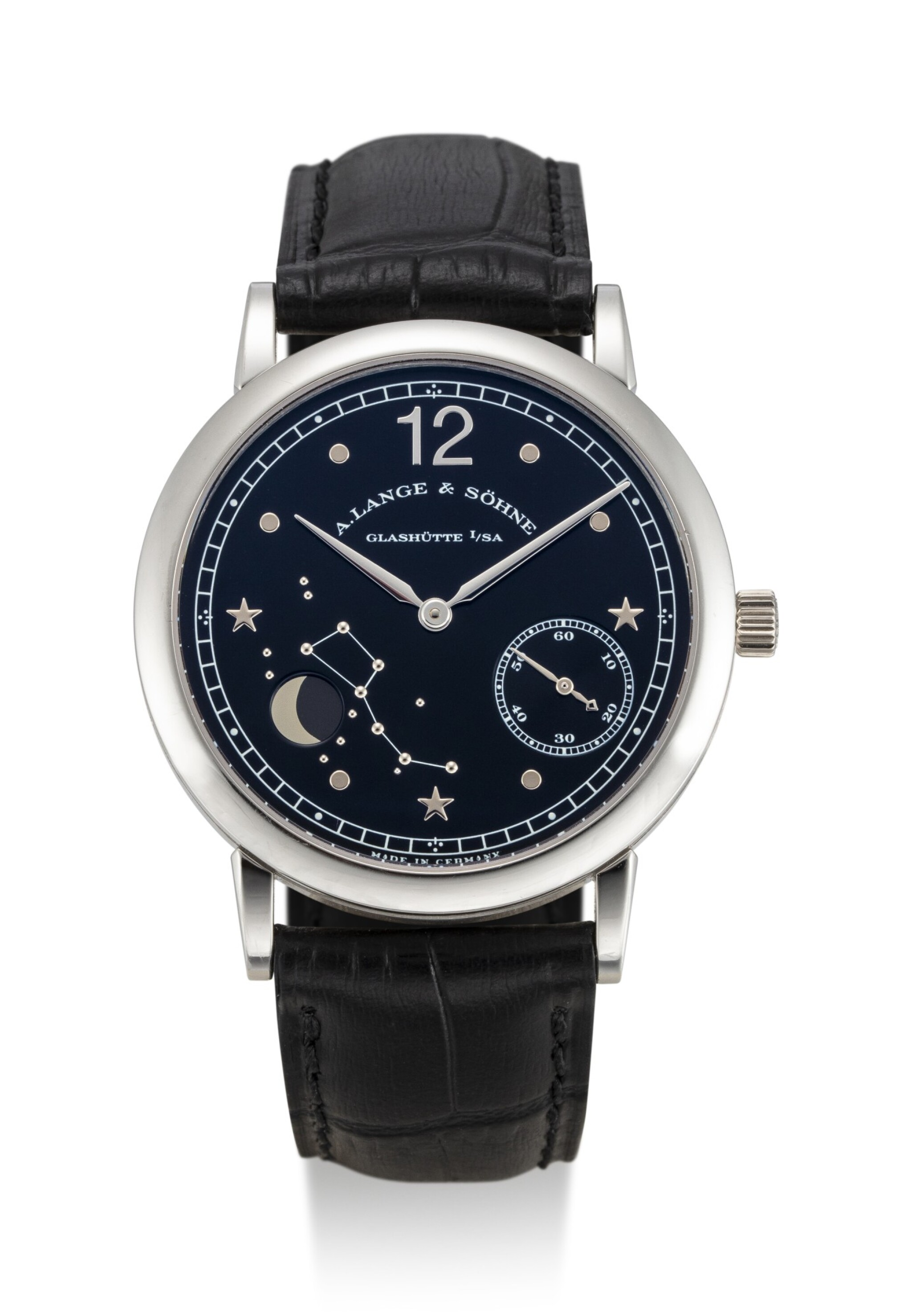 View full screen - View 1 of Lot 63. A. LANGE & SÖHNE | 1815 MOON PHASE, REFERENCE 231.035, A LIMITED EDITION PLATINUM ASTRONOMICAL WRISTWATCH WITH MOON PHASES, MADE TO COMMEMORATE THE 150TH ANNIVERSARY OF EMIL LANGE'S BIRTH, CIRCA 1999.