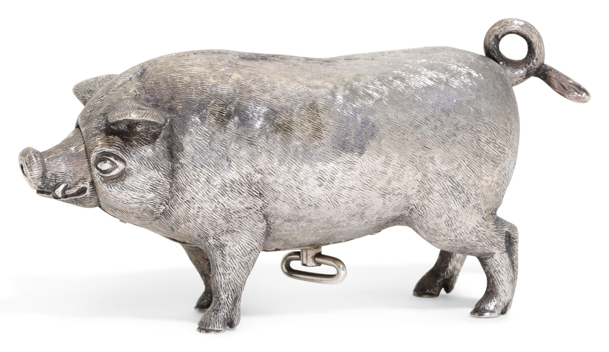 View full screen - View 1 of Lot 76. AN EDWARDIAN SILVER MECHANICAL PIG TABLE BELL, WILLIAM HORNBY, LONDON, 1909, RETAILED BY ASPREY.