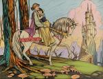 SNOW WHITE AND THE SEVEN DWARFS (1937) ORIGINAL ARTWORK, 'SNOW WHITE AND PRINCE ON HORSE', BRITISH