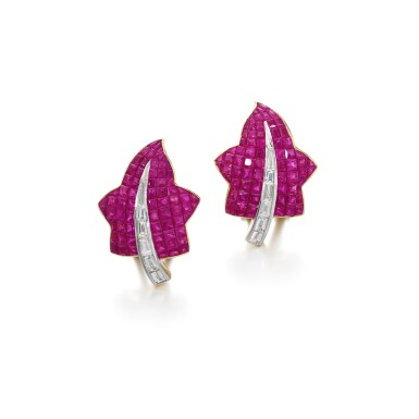 View 1. Thumbnail of Lot 57. Pair of ruby and diamond ear clips.