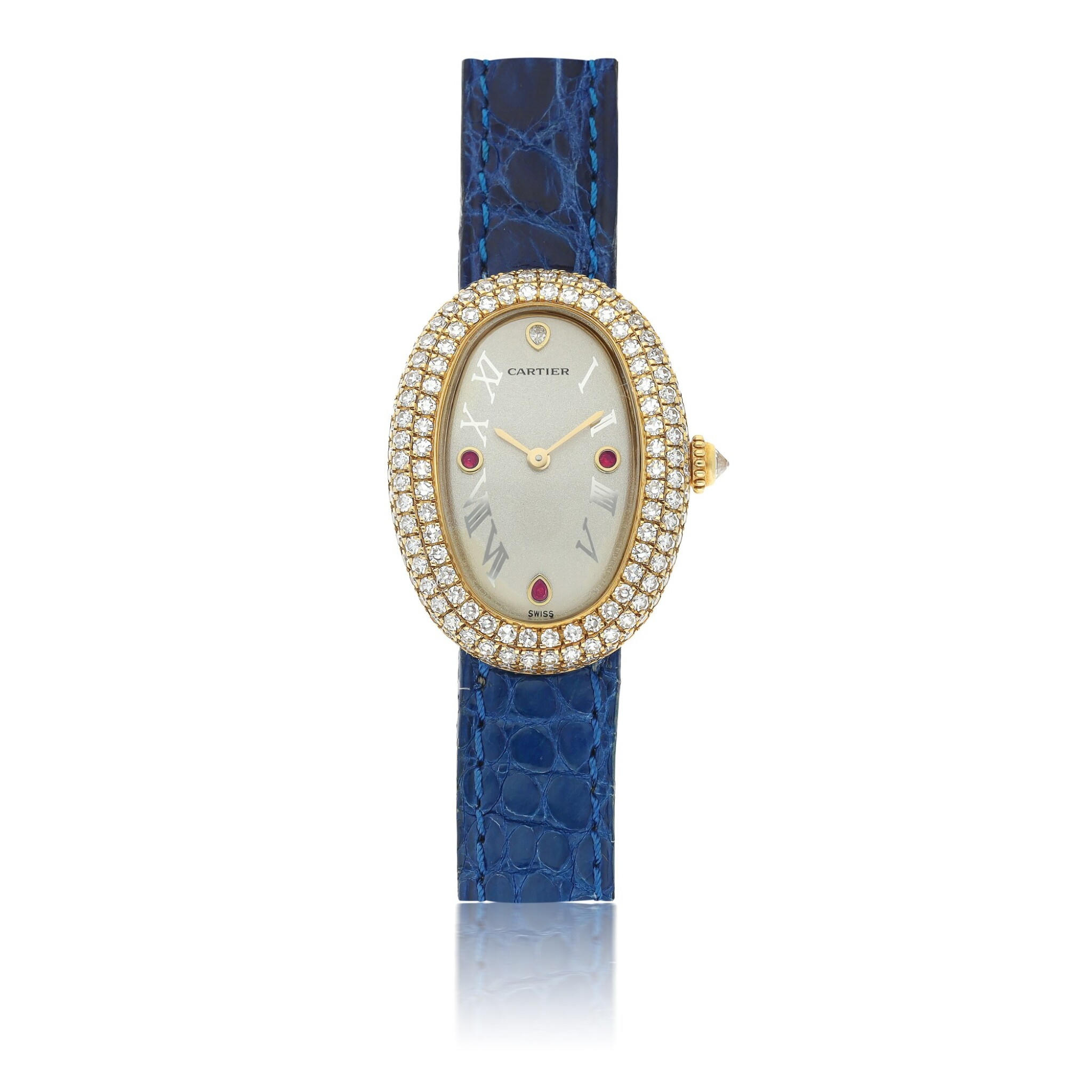 View full screen - View 1 of Lot 31. CARTIER | REF 1950 1 BAIGNOIRE, A LADY'S YELLOW GOLD, DIAMOND AND RUBY SET OVAL WRISTWATCH CIRCA 2005.