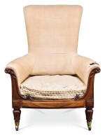A GEORGE IV CARVED ROSEWOOD ARMCHAIR, CIRCA 1825, IN THE MANNER OF GILLOWS