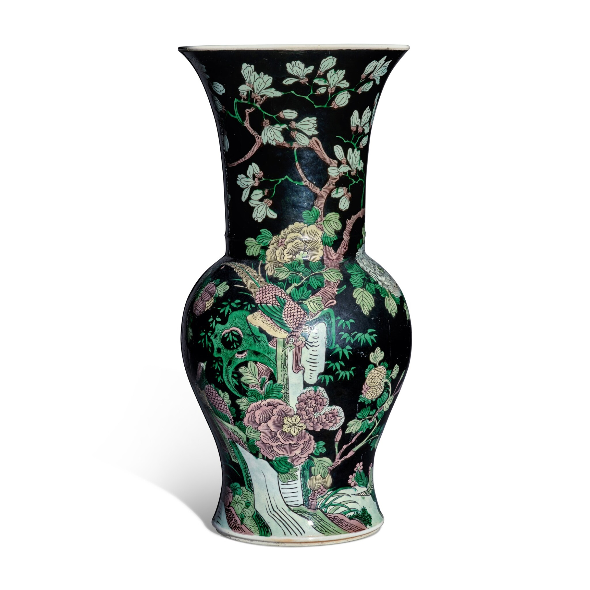 View full screen - View 1 of Lot 12. A famille-noire 'bird and flower' yenyen vase, Qing dynasty, 19th century.
