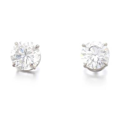 View 1. Thumbnail of Lot 1172. Pair of diamond ear studs.