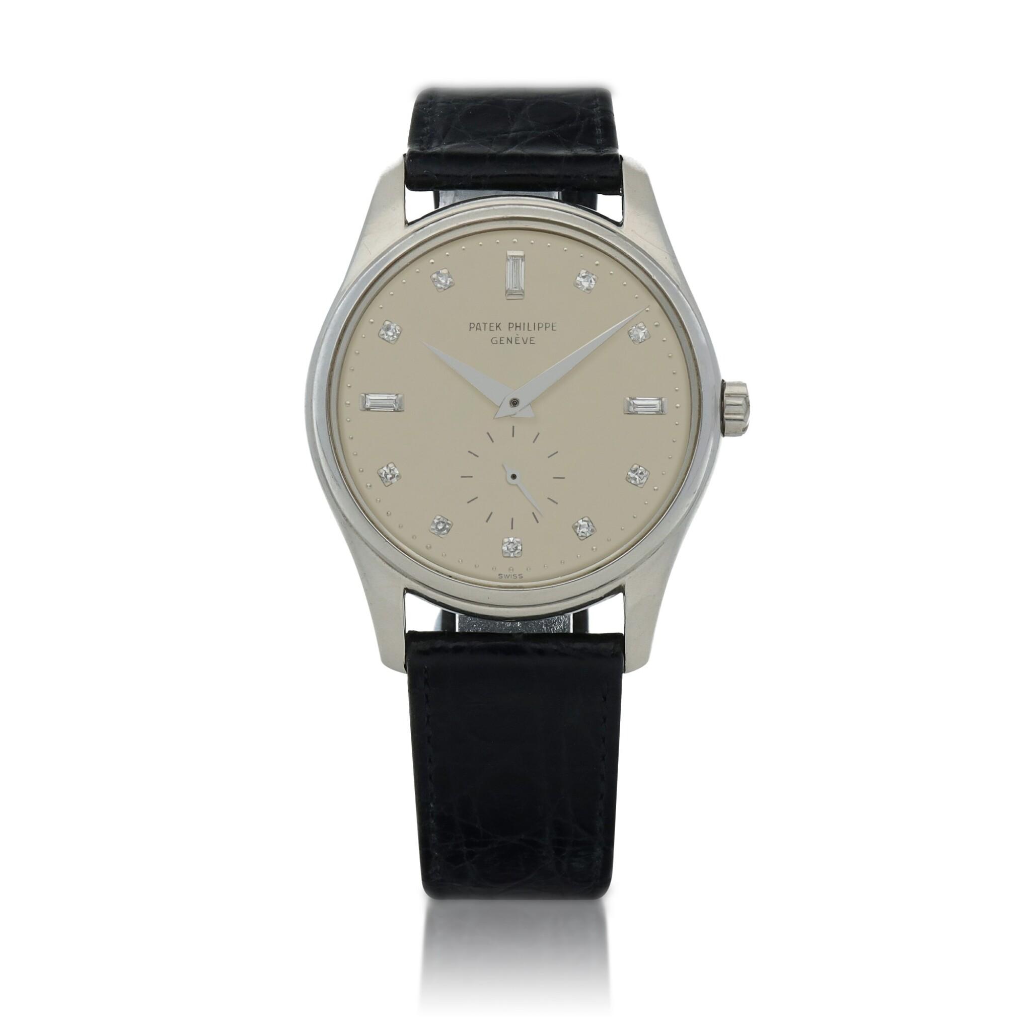 View full screen - View 1 of Lot 78. Ref. 2526P Platinum and diamond-set wristwatch Made in 1954 | 百達翡麗 2526P型號鉑金鑲鑽石腕錶,1954年製.