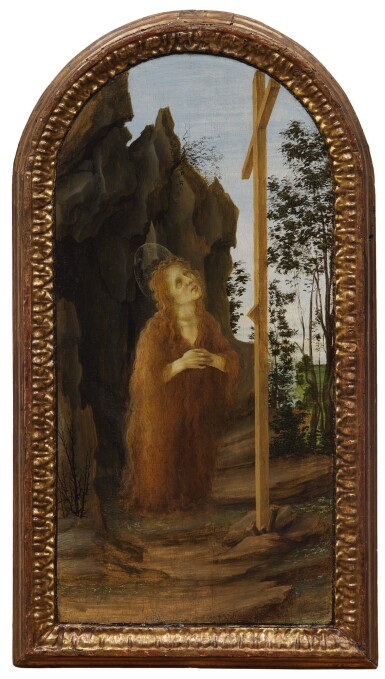 View 2. Thumbnail of Lot 125. Penitent Mary Magdalene adoring the True Cross in a rocky landscape.