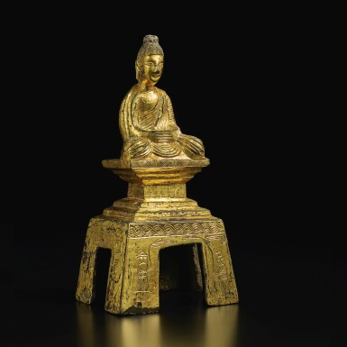 View 3. Thumbnail of Lot 588. A GILT-BRONZE FIGURE OF A SEATED BUDDHA,  NORTHERN WEI DYNASTY, DATED TAIHE SECOND YEAR, CORRESPONDING TO 478.