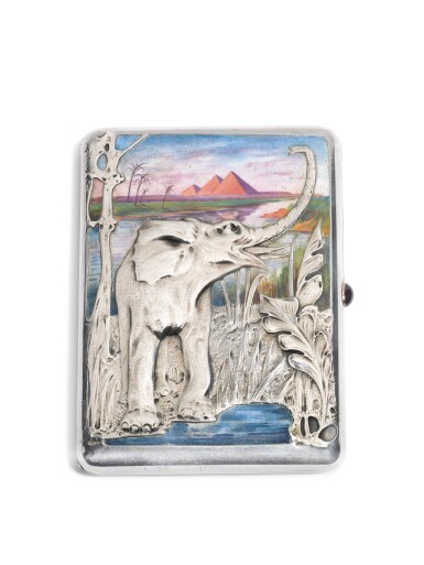 View 1. Thumbnail of Lot 317. A silver and enamel cigarette case, 15th Artel, Moscow, 1908-1917.