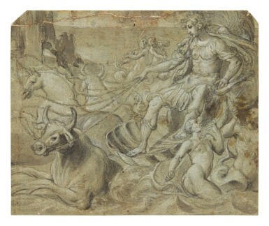 View 1. Thumbnail of Lot 593. FLORENTINE SCHOOL, CIRCA 1580 | A MYTHOLOGICAL FIGURE RIDING A SHELL-CHARIOT DRAWN BY BULLS AND A UNICORN, WITH TRITONS PLAYING IN THE WAVES.