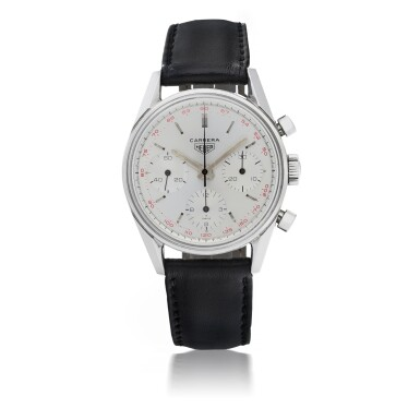 View 1. Thumbnail of Lot 48. HEUER | CARRERA 12, REF 2447T STAINLESS STEEL CHRONOGRAPH WRISTWATCH  CIRCA 1965.