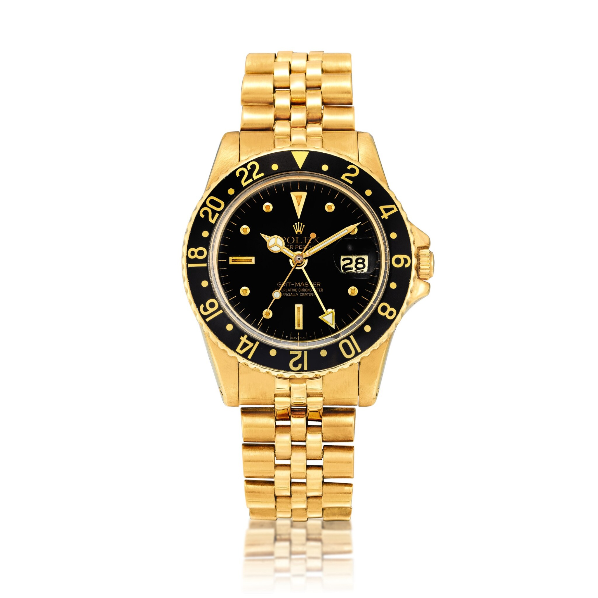"""View full screen - View 1 of Lot 2262. Rolex   GMT-Master II """"Nipple Dial"""", Reference 1675, A yellow gold dual time zone wristwatch with date and bracelet, Circa 1978   勞力士   GMT-Master II """"Nipple Dial"""" 型號1675  黃金兩地時間鏈帶腕錶,備日期顯示,約1978年製."""