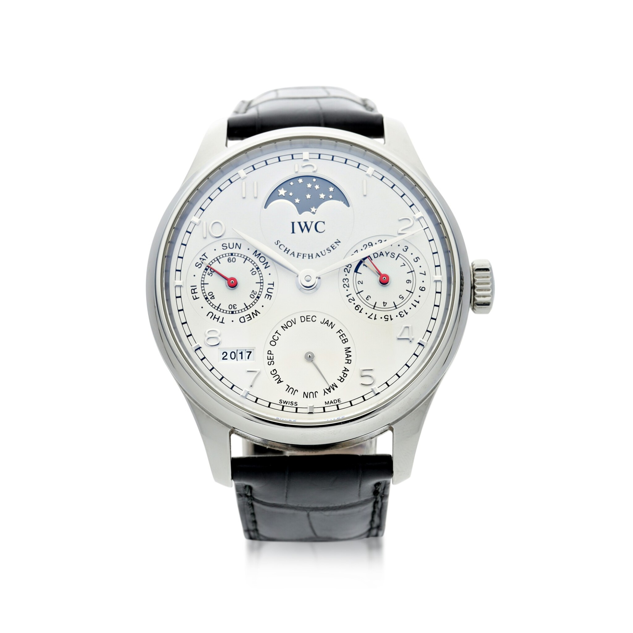 View full screen - View 1 of Lot 23. IWC   REFERENCE IW5023-08 PORTUGIESER   A STAINLESS STEEL AUTOMATIC PERPETUAL CALENDAR WRISTWATCH MOON PHASES AND POWER RESERVE INDICATION, CIRCA 2015.