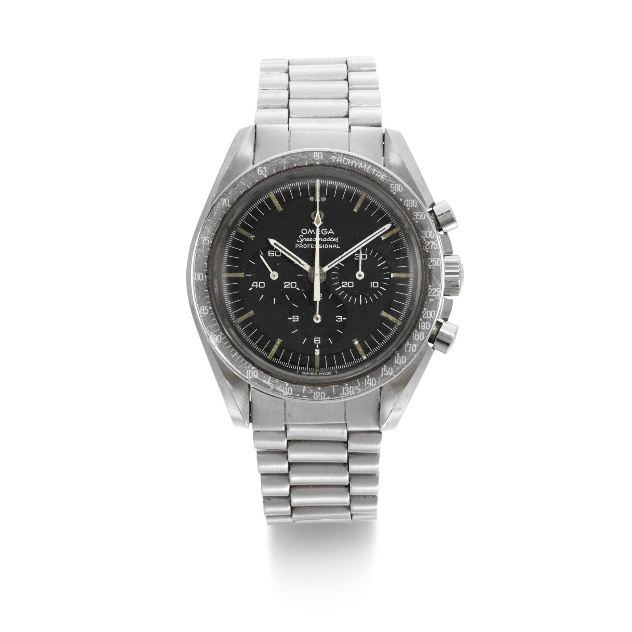 View full screen - View 1 of Lot 203. 'ORIGINAL MOONWATCH' SPEEDMASTER REFERENCE 105'012-66   STAINLESS STEEL CHRONOGRAPH WRISTWATCH WITH REGISTERS, CIRCA 1966 .