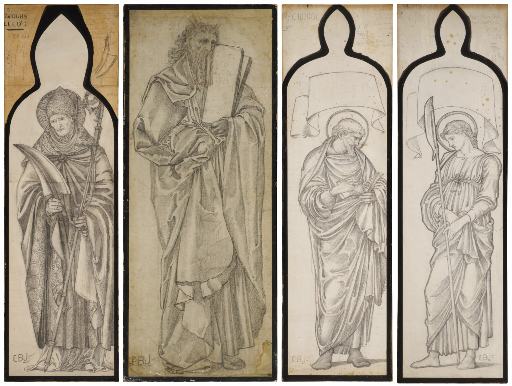 View full screen - View 1 of Lot 37. SIR EDWARD COLEY BURNE-JONES, BT., A.R.A., R.W.S. AND STUDIO   FOUR CARTOONS FOR WINDOWS.