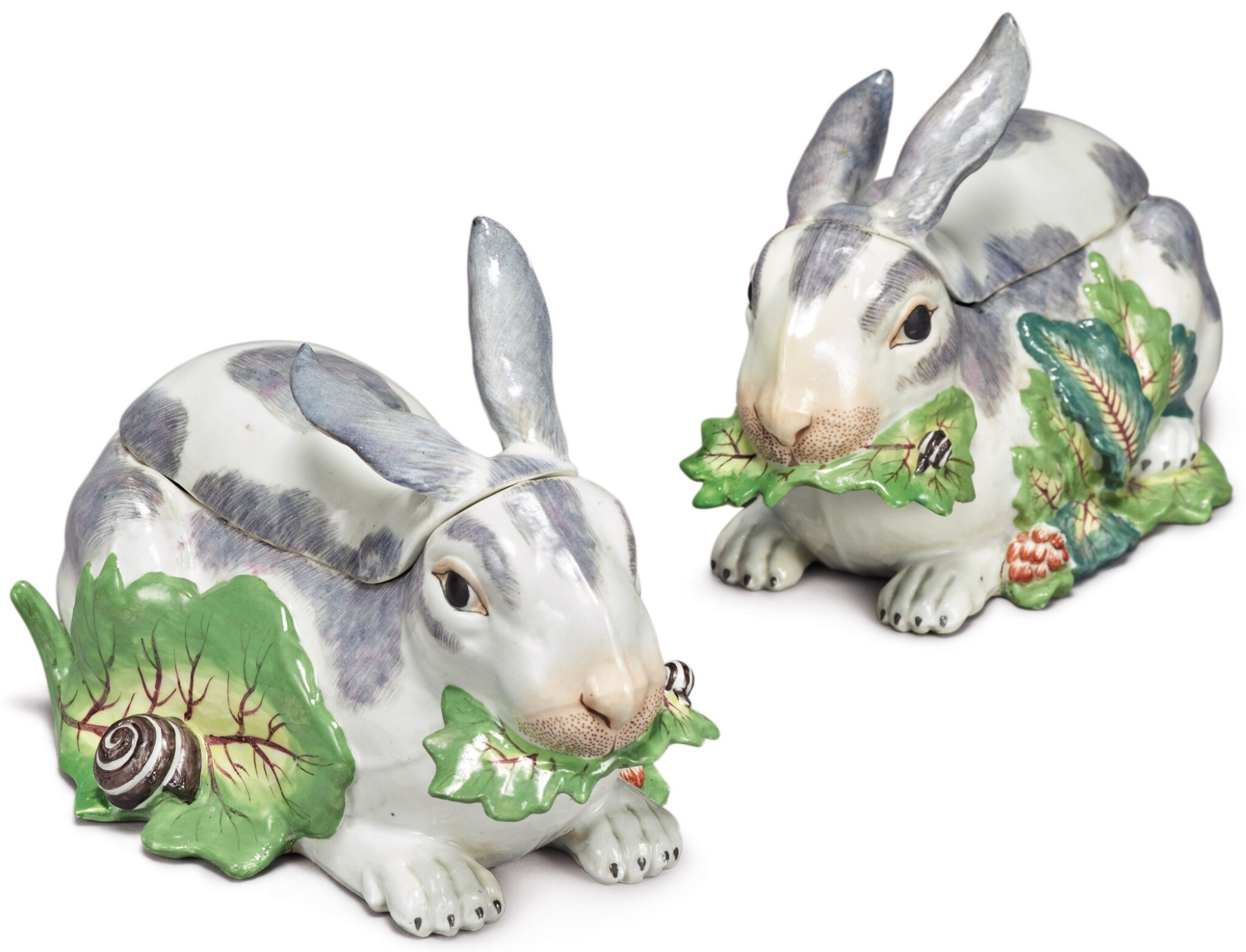 View full screen - View 1 of Lot 155. A PAIR OF SAMSON RABBIT TUREENS AND COVERS, LATE 19TH CENTURY.
