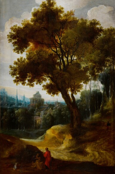 View 1. Thumbnail of Lot 5. A landscape with the Rest on the Flight into Egypt .