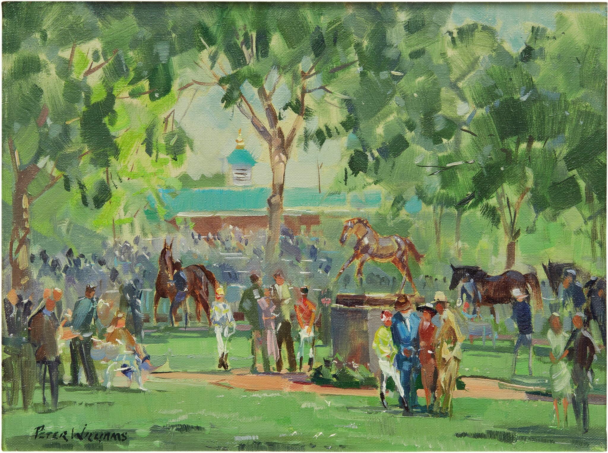View full screen - View 1 of Lot 3. PETER WILLIAMS | VIEW OF THE PADDOCK, AT BELMONT PARK.