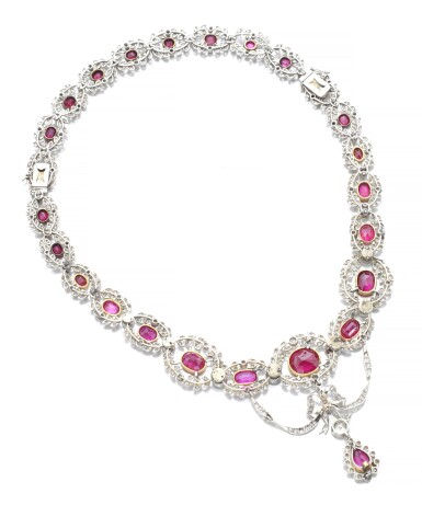 View 4. Thumbnail of Lot 159. RUBY AND DIAMOND NECKLACE, CIRCA 1910.