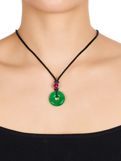 View 3. Thumbnail of Lot 1723. Pair of Jadeite Hoop and Ruby Pendent Necklaces | 天然翡翠雕「平安扣」配 紅寶石 項鏈一對.