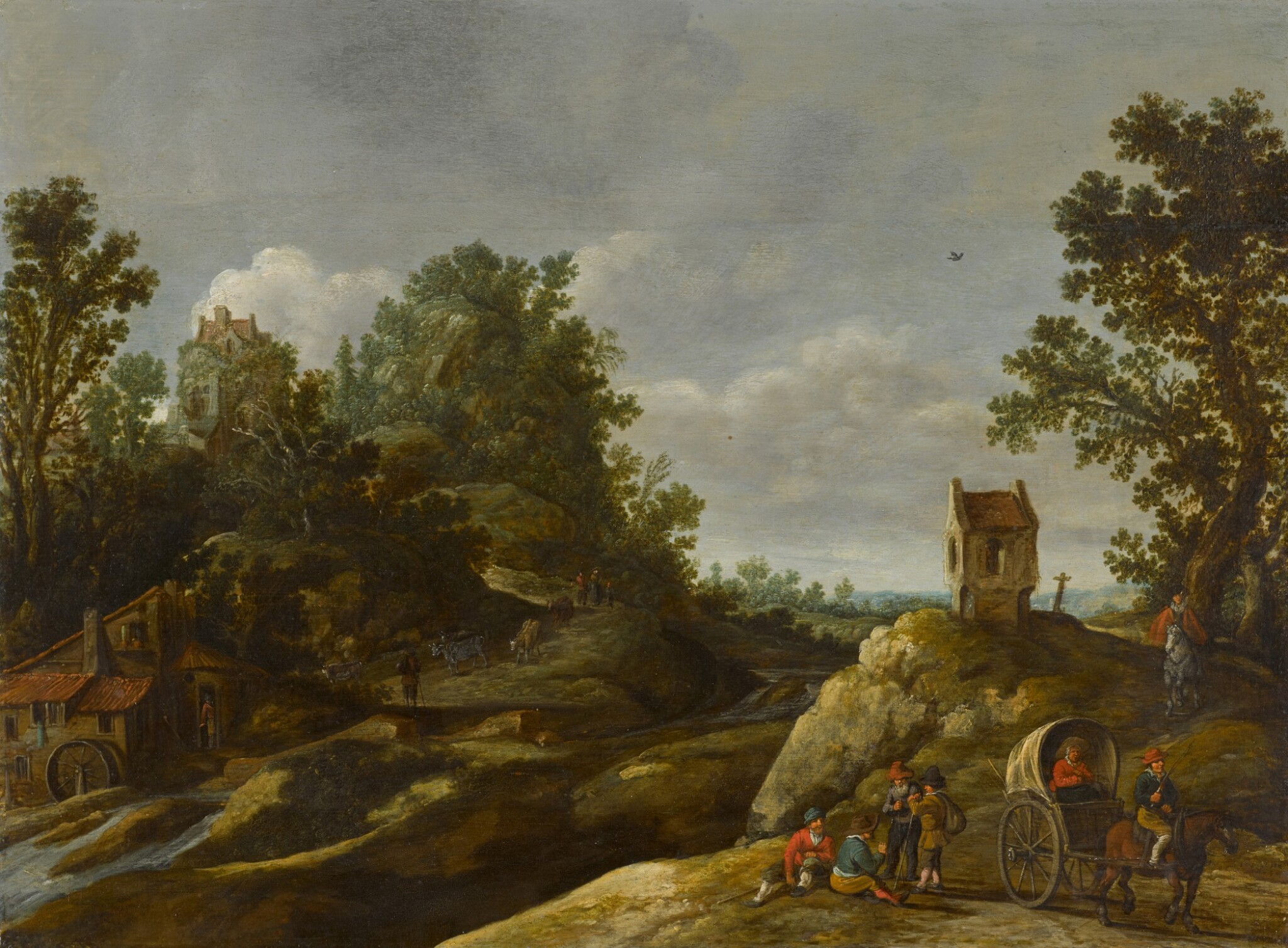 View 1 of Lot 151. A landscape with peasants resting by a watermill.