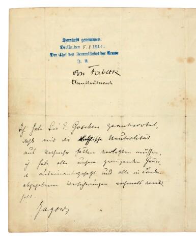 View 2. Thumbnail of Lot 134.  WORLD WAR I--GOSCHEN | typescript document to Von Jagow, the German Foreign Minister, 4 August 1914.