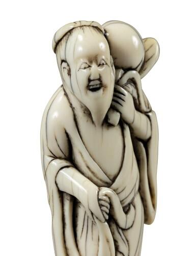 View 5. Thumbnail of Lot 80. An ivory netsuke study of Chokwaro Sennin, Japan, Edo period, 18th century.