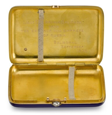 View 4. Thumbnail of Lot 8. An Imperial Presentation jewelled, gold and guilloché enamel cigarette case, workmaster Carl Blank for Hahn, St Petersburg, circa 1896.
