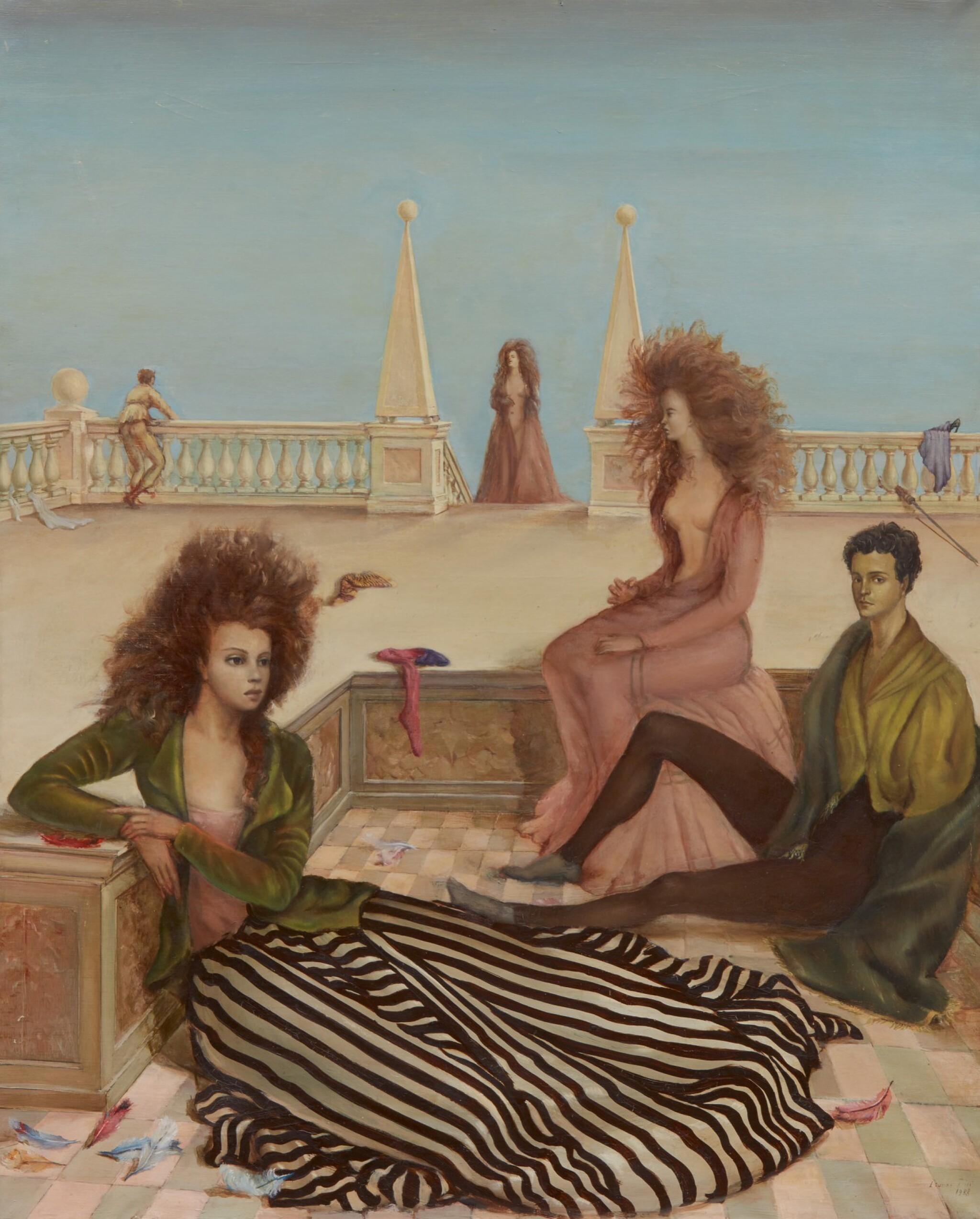 View full screen - View 1 of Lot 1002. LEONOR FINI | FIGURES ON A TERRACE (COMPOSITION WITH FIGURES ON A TERRACE; LA TERRASSE).